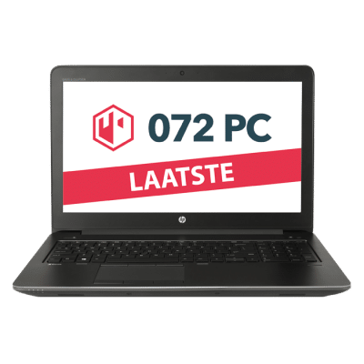 Productafbeelding van HP Zbook 15 G3 workstation met tekst 'laatste' in beeld
