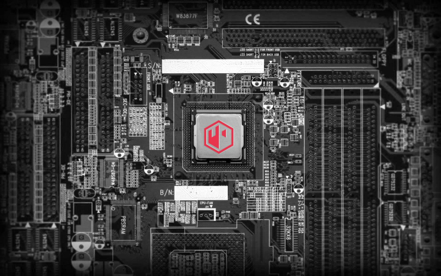 Sfeerafbeelding van moederbord met 072-PC embleem op processor