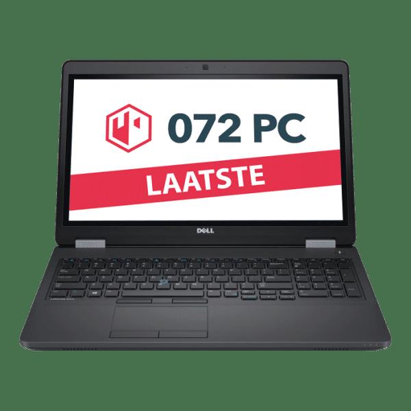 Productafbeelding van voorkant Dell E5550 laptop met tekst 'laatste' in beeld