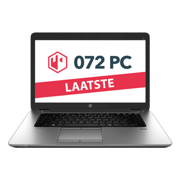 Productafbeelding van voorkant HP EliteBook 850 G1 laptop met tekst 'laatste' in beeld