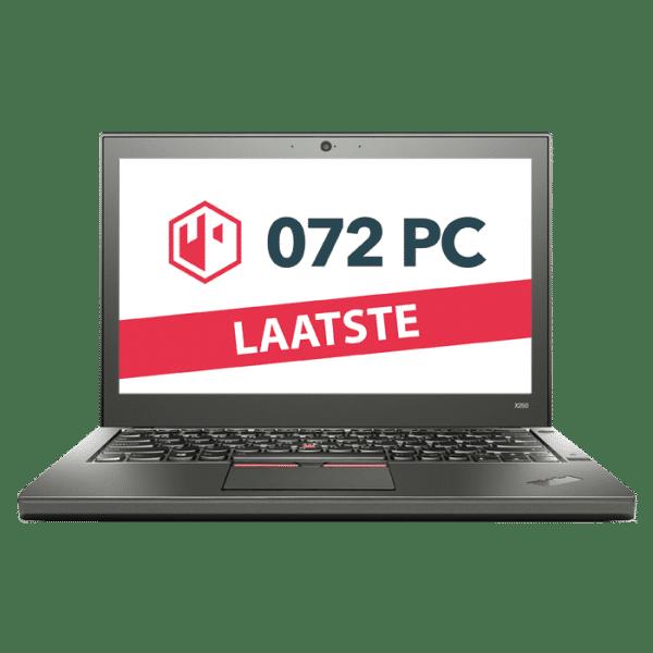 Productafbeelding van voorkant Lenovo ThinkPad X250 laptop met tekst 'laatste' in beeld