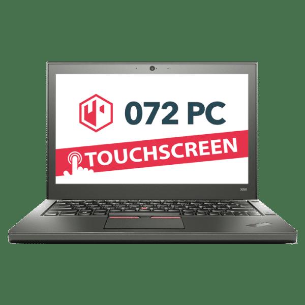 Productafbeelding van voorkant Lenovo X250 laptop met tekst 'touchscreen' in beeld