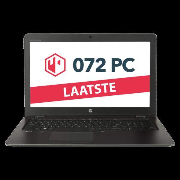 Productafbeelding van voorkant HP Zbook 15u G3 laptop met tekst 'laatste' in beeld