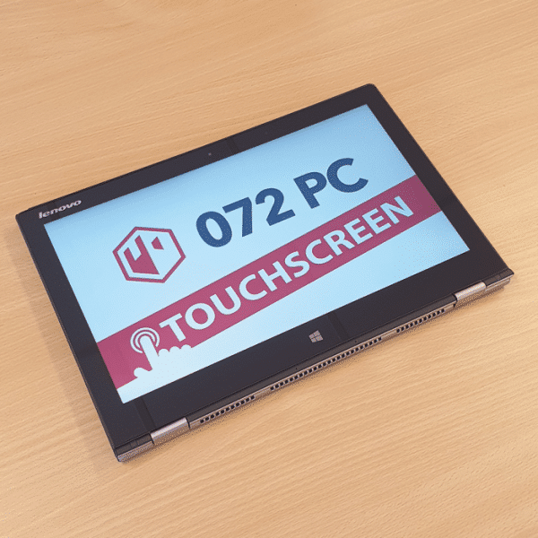 Foto van voorkant Lenovo Yoga 2 Pro laptop in tabletmodus met tekst 'touchscreen' in beeld