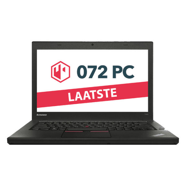 Productafbeelding van voorkant Lenovo ThinkPad T450 laptop met tekst 'laatste' in beeld